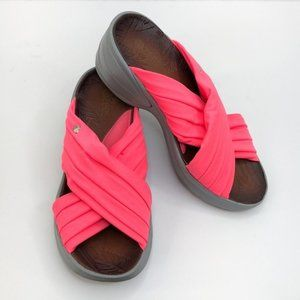 BZees Pink Stretch Cross Wedge Sandals
